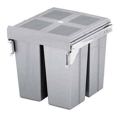 HILBRI 68 Litre Kitchen Waste Bin 3 Compartments To Fit Cabinet Width 500mm