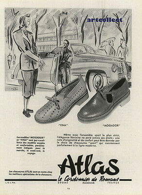 Original Vintage French Fashion Ad: Atlas Chaussures. Shoes.  (1949)