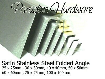 Folded Angle Corner Protector - Satin Stainless Steel 7 Sizes & 15 Lengths
