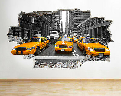 Z077 New York City NYC Yellow Cab America Wall Decal Poster 3D Art Stickers Room