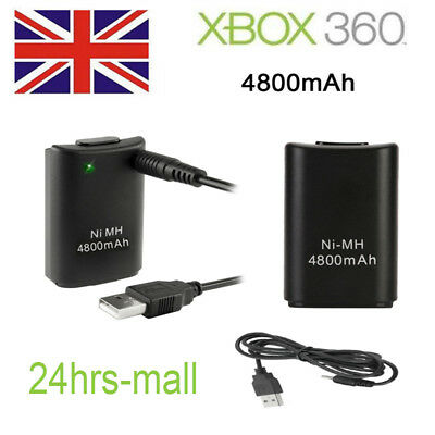 UK 4800 mAh 2X Wireless Controller Rechargeable Battery Pack for Xbox 360 Black