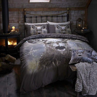 Catherine Lansfield Winter warm OH Deer Duvet Cover/Bedding Set 3 SizesAvailable