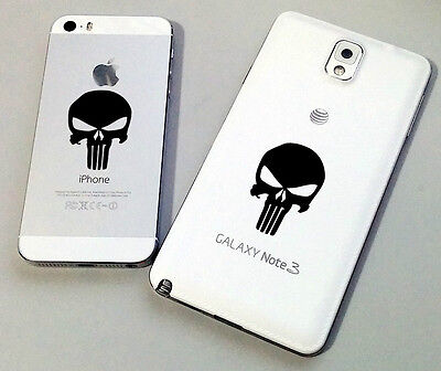 2 x SMALL PUNISHER 3D Carbon Vinyl Sticker IPHONE/IPAD/TABLET/LAPTOP/KINDLE