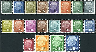 GERMANY (SAAR)-1957 Redrawn Set to 300f Sg 406-425 UNMOUNTED MINT V10558