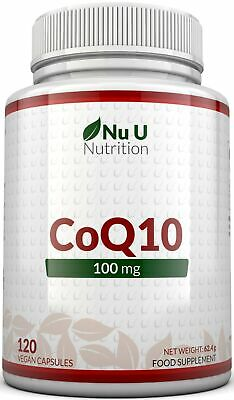 CoQ10 100mg, 120 Coenzyme Q10 Capsules UK Made 100% MONEY BACK Nu U Nutrition