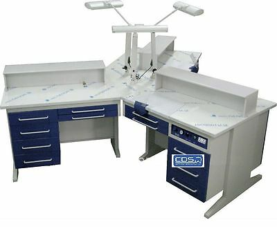 Dental 3 Person Workstation Bench AX-YT1 Laboratory W/Dust Collectors TIAN-0016