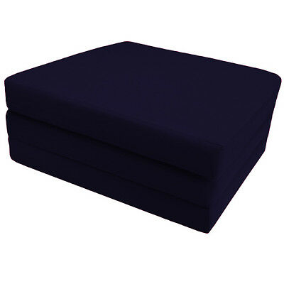 Navy Blue 100% Cotton Fold Out ZBed Cube Sleepover Guest Mattress Futon Chairbed
