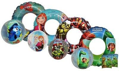 Kids Disney & Marvel Swimming Pool Ring Armband Beach Ball Set Brand New Gift
