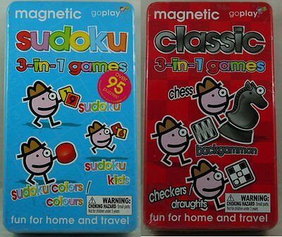 Magnetic 3 In 1 Games In A Tin - Fun For Home & Travel