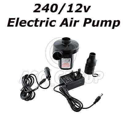 Red Wood 240v/12v  Electric Air Pump Inflator - For Camping, Air Beds, Swimming