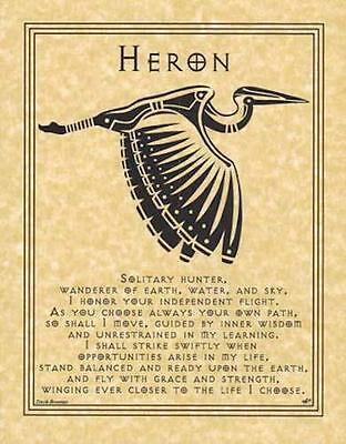 HERON Parchment Page for Book of Shadows, Altar!