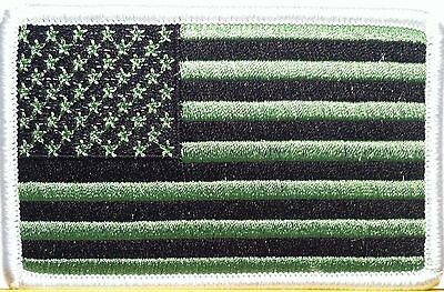 USA Black & Green Flag Patch With VELCRO® Brand Fastener  Military White Border
