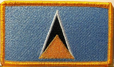 Saint Lucia Flag Embroidered Iron-On Patch Military Emblem Gold Border