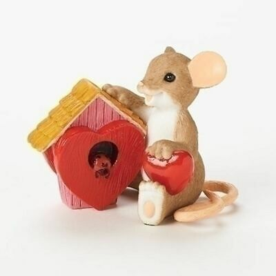 "Charming Tails 2.5"" Mouse Figure Wishing You Home Filled with Love #19379 NIB"