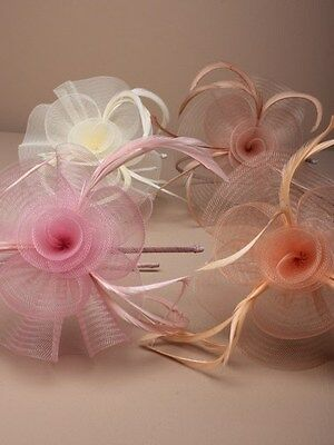 Centre net flower and feather fascinator for weddings, races,prom, colours