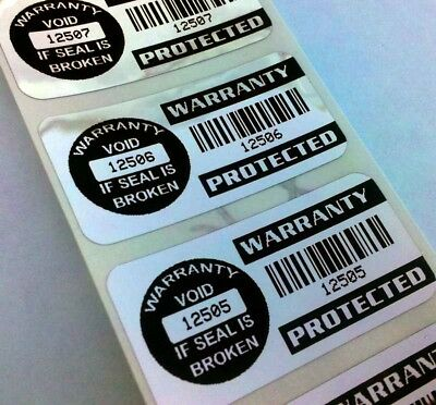 100 Tamperproof Warranty Protected Void Security Stickers Labels Seals