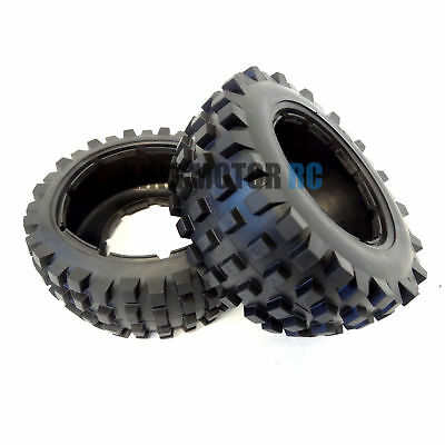 1/5 Scale King Motor RC Rear T1000 Knobby Truck Tires Fits HPI Baja 5T 5SC Rovan