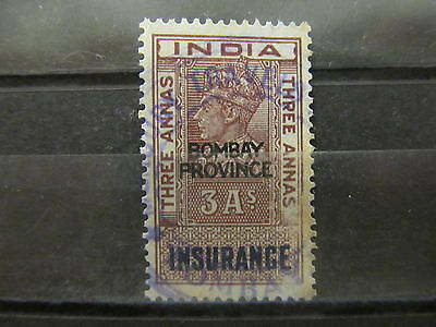 A2P31 INDIA REVENUE STAMP INSURANCE BOMBAY 4a USED #4