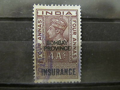 A2P31 INDIA REVENUE STAMP INSURANCE BOMBAY 4a USED #5