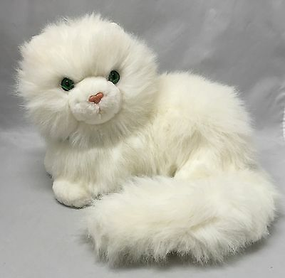 "Russ Berrie Plush White Long Hair Kitty Cat Nikki Green Eyes EUC 14"" Long"