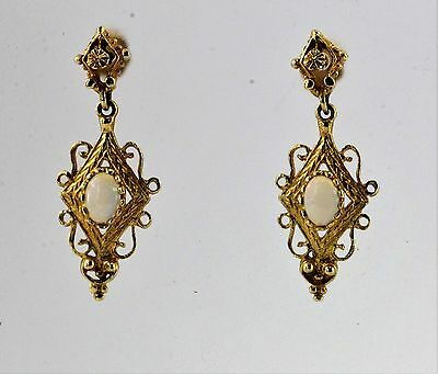 14K Gold & Opal Victorian Style Dangle Earrings