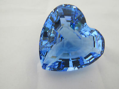Swarovski Blue Heart Crystal Paper Weight Signed With Swan