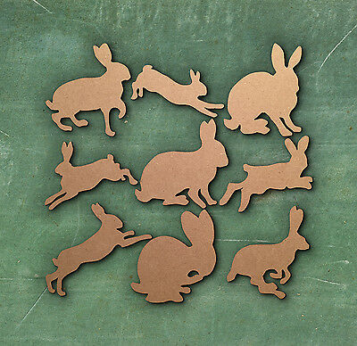 RABBIT SHAPES UPRIGHT WOODEN Multiple Sizes Wood Shape Bunny Hare 2.5cm to 25cm