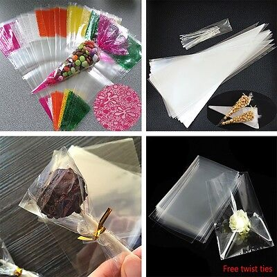 Clear / Colored Cello Bags - Cellophane Display Bag for Candy Lollipops & Cards