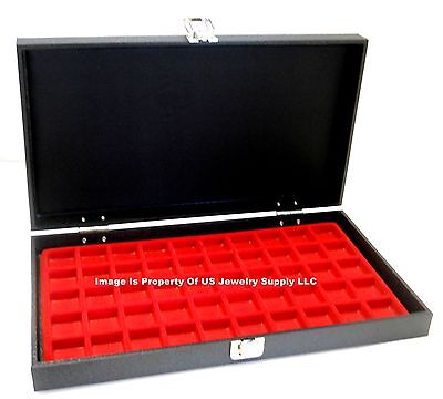 1 Solid Top Lid Red 50 Space Jewelry Display Box Case