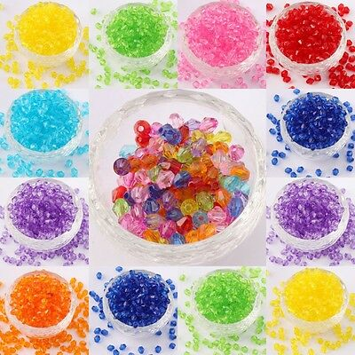 500 Lots Acrylic Plastic Transparent Faceted Bicone Spacer Beads 6mm Candy Color