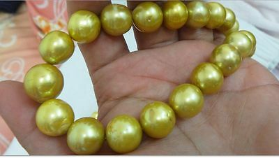 """Huge 18""""13-15Mm Natural South Sea Genuine Gold Round Pearl Necklace Aa"""