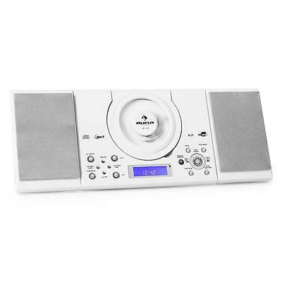 Hifi Multimedia Fm Stereo System Usb Mp3 Cd Player Wall Mounted White *free P&p*