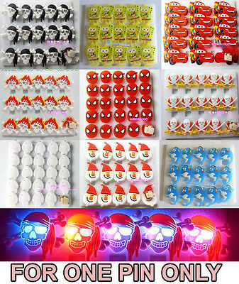 1pc Flash LED Light Glow Badge Pin Kids Costumes Toy Birthday Party Favor Props