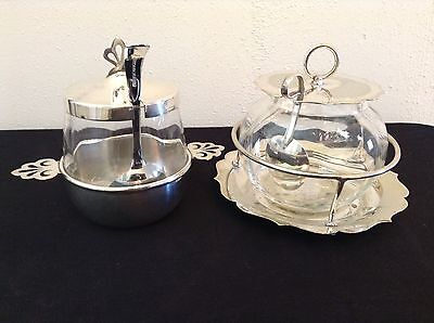 2 X Vintage Silver Plate & Glass Condiment Jam Preserve Sugar Bowls with Spoon