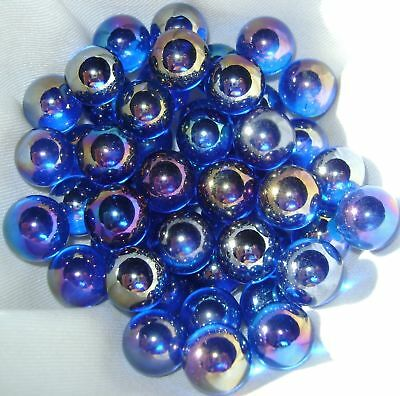 NEW 10 LIGHT BLUE LUSTERED LUSTRED 14mm GLASS MARBLES GAME COLLECTORS ITEMS HOM