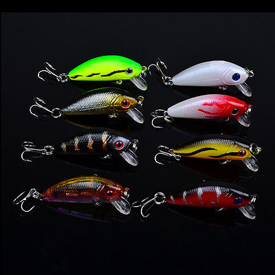 "Lot 8pcs Plastic Minnow Fishing Lures Floating Rattles Crankbait 5cm 1.97"" 3.6g"