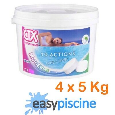 CHLORE MULTIFONCTION 10 ACTIONS PISCINE CTX-342 (ASTRAL) GALET 250 GR./ 4 x 5 KG