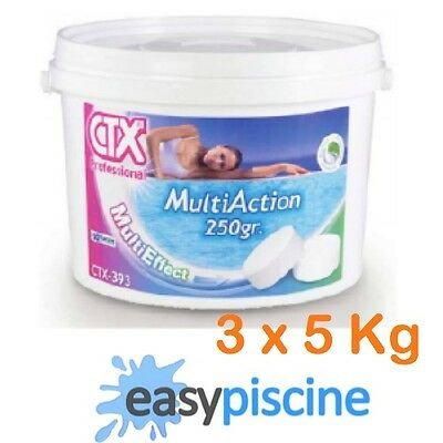 CHLORE MULTIACTION PISCINE CTX-393 (ASTRAL-POOL TRIPLEX) GALET 250 GR./ 3 x 5 KG