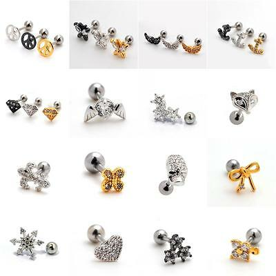 UK Small Helix Ear Crystal Cartilage Body Piercing Jewellery Tragus Bars Earring