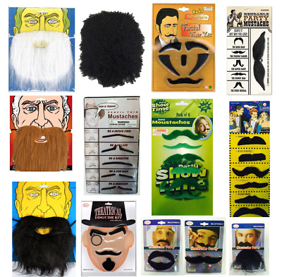 False Fake Mustache Beard Tash Self Adhesive Facial Hair Fancy Dress Costume