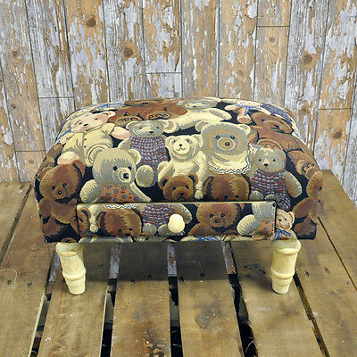 Teddy Bear Teddie Fabric Footstool with Drawer & Wooden Legs Shabby Chic Vintage
