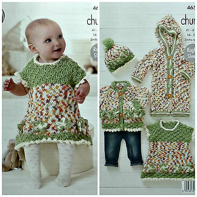 Knitting Pattern Baby All In One : Baby Girl Coat Hat Dress Waistcoat Chunky Yarn Knitting ...
