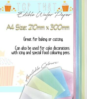 BakeEasy A4 sized Quality Edible Rice / Wafer Paper-Choose your Colour & Amount