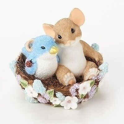 """Charming Tails 2.5"""" Mouse Figure May Your Home Bloom With Friends #19387 NIB"""
