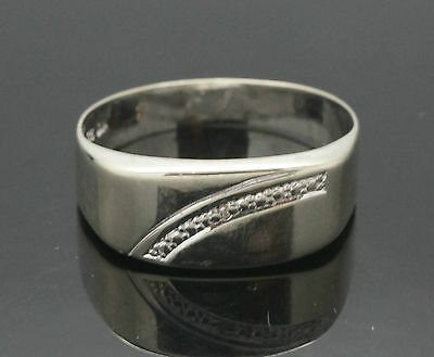 9ct White Gold Diamond Signet Ring (Size Y) 8mm Wide