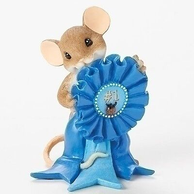 "Charming Tails 3"" Mouse Figure Blue Ribbon Award You Are the Best #19371"