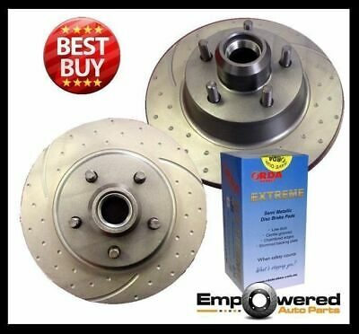 DIMPLED SLOTTED Commodore VN Berlina V8 1989-1991 FRONT DISC BRAKE ROTORS + PADS