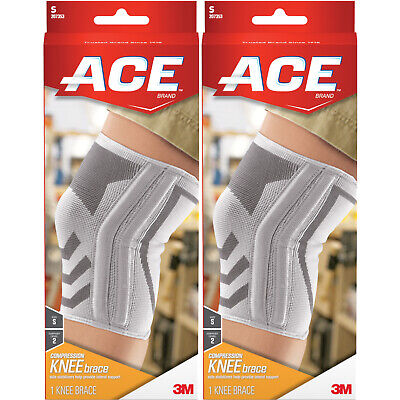 2 Pack - ACE Knitted Knee Brace with Side Stabilizers, Small 1 Each
