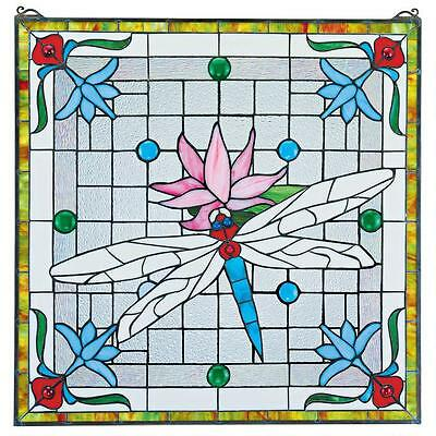 """24"""" Victorian Style Dragonfly Flower Pond Cabochons Stained Glass Window Panel"""