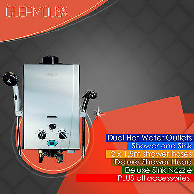 Instant LPG Portable Gas Hot Water Camp DUAL Shower Heater 4WD Caravan Horse Dog